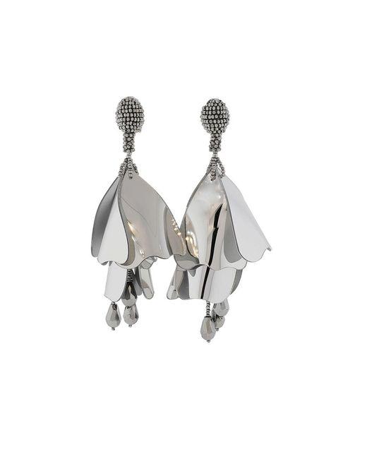 Oscar de la Renta - Metallic Impatient Flower Earrings - Lyst