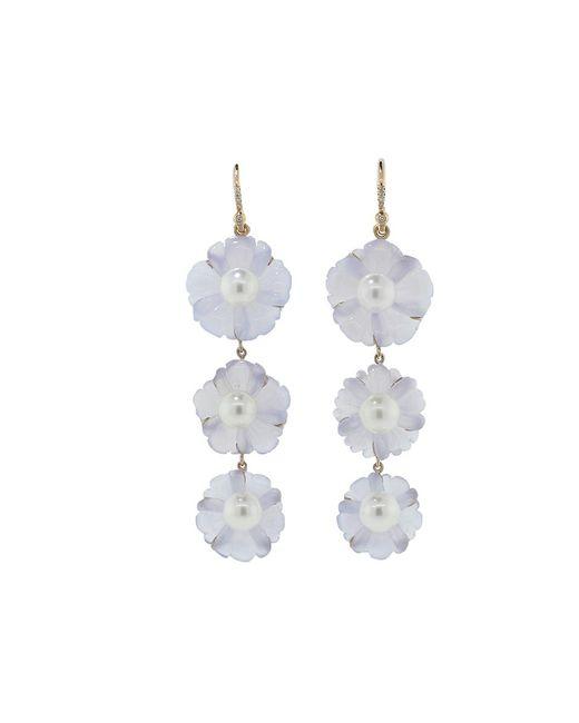 Irene Neuwirth | Blue Chalcedony Carved Flower Earrings | Lyst