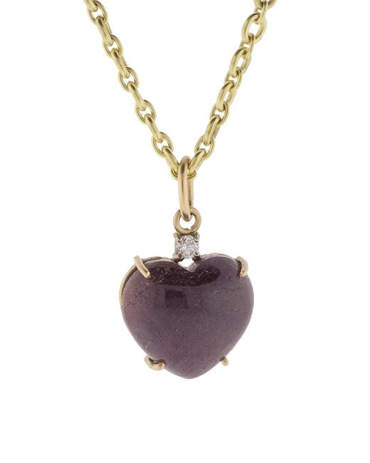 Irene Neuwirth - Metallic Cabochon Ruby Heart Charm Pendant - Lyst