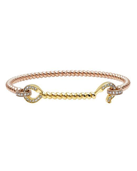 Nancy Newberg - Metallic Diamond Hook Mixed Gold Twist Bracelet - Lyst