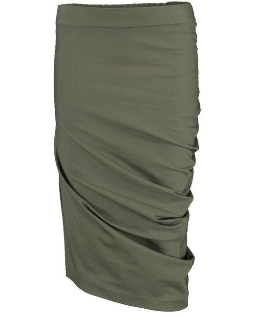 Brunello Cucinelli - Green Twill Curved Skirt - Lyst