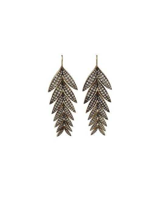 Sylva & Cie - Metallic Diamond Feather Earrings - Lyst
