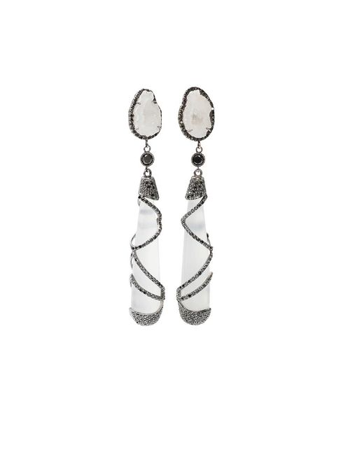 Colette | White Quartz Drop Earrings | Lyst