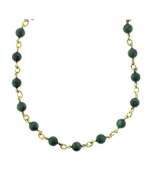 Sylva & Cie - Metallic Emerald Bead Necklace - Lyst