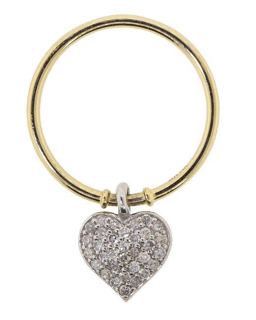 Nancy Newberg - Metallic White Diamond Pave Heart Charm Ring - Lyst