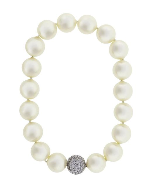 Fantasia Jewelry - Multicolor Pearl Necklace With Pave Ball - Lyst