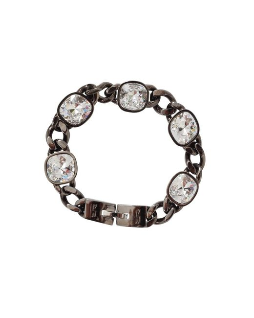 Rebecca | Metallic Multi Crystal Stone Chain Bracelet | Lyst