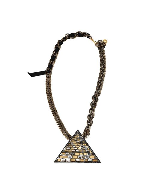 Lanvin | Metallic Luxor Pyramid Necklace | Lyst