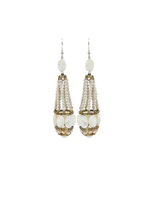 Ziio | Swing White Tassel Earrings | Lyst