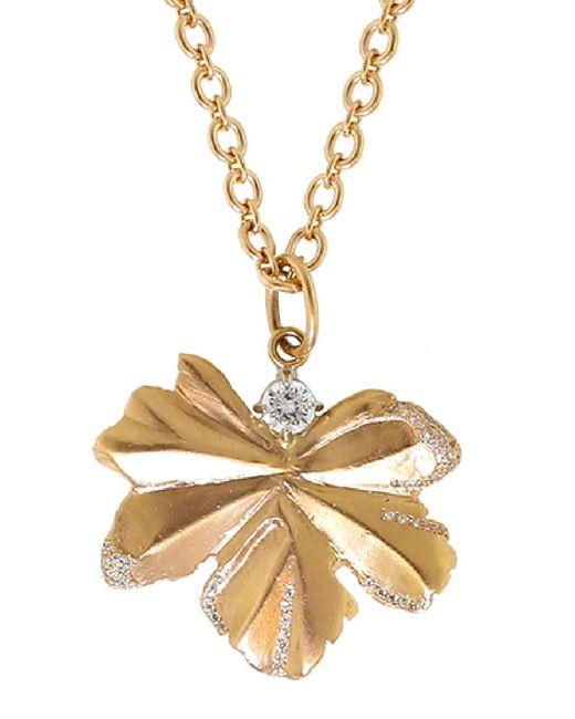 Irene Neuwirth - Metallic Gold Leaf And Diamond Pendant - Lyst