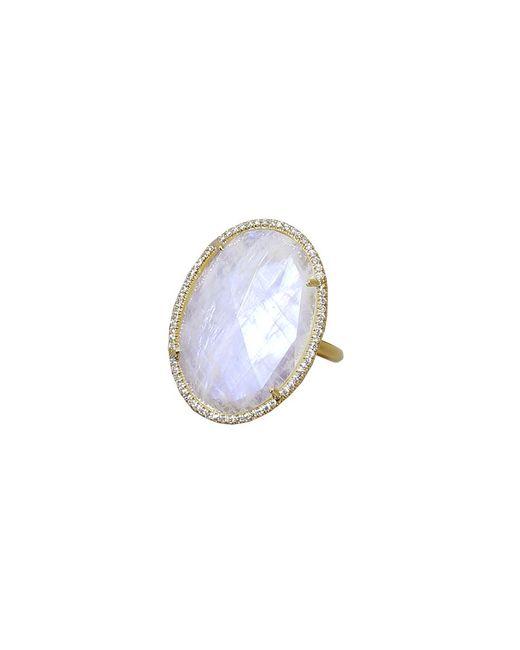 Irene Neuwirth - Metallic Rose Cut Rainbow Moonstone Ring - Lyst