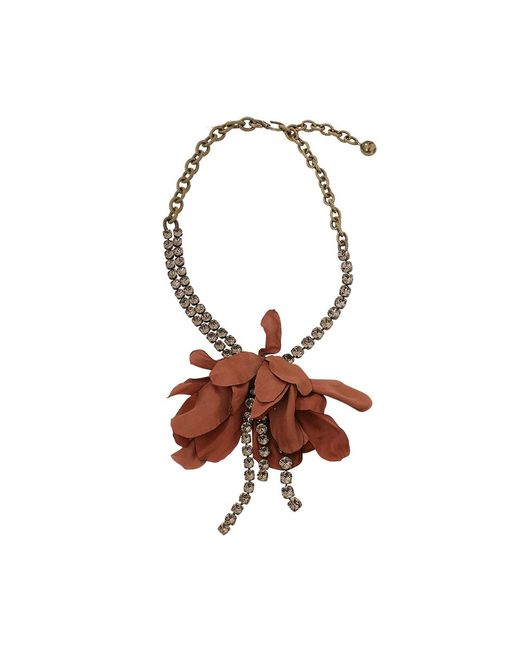 Lanvin | Multicolor Crystal And Flower Necklace | Lyst