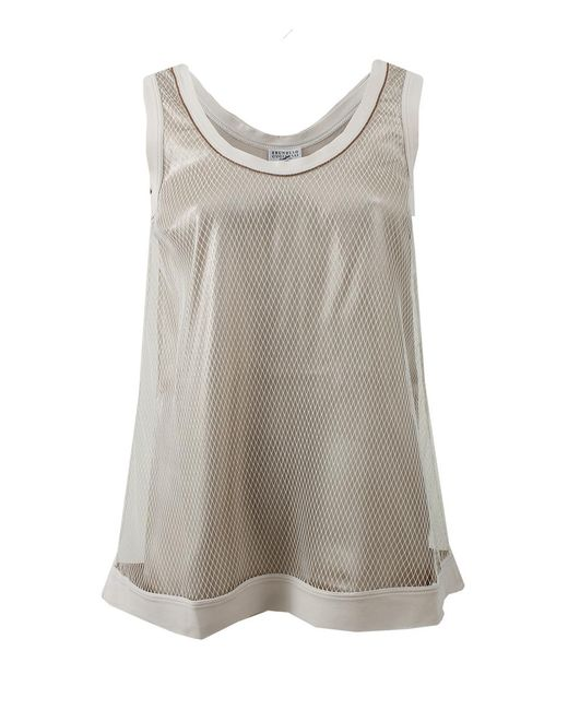 Brunello Cucinelli | Gray Netted Tank | Lyst