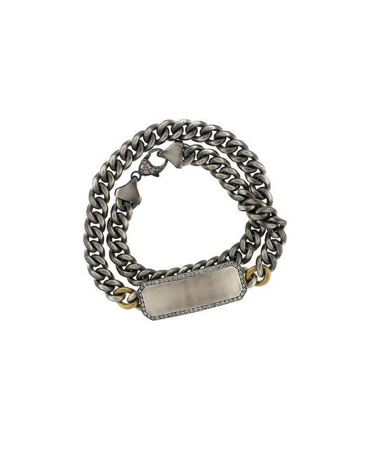 Sylva & Cie | Metallic Grey Diamond Id Wrap Bracelet | Lyst
