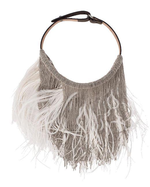 Brunello Cucinelli - Multicolor Feather And Monili Bib Necklace - Lyst