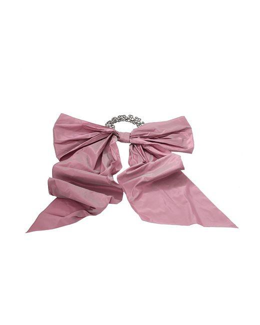 Oscar de la Renta - Pink Taffeta Bow On Pave Choker - Lyst