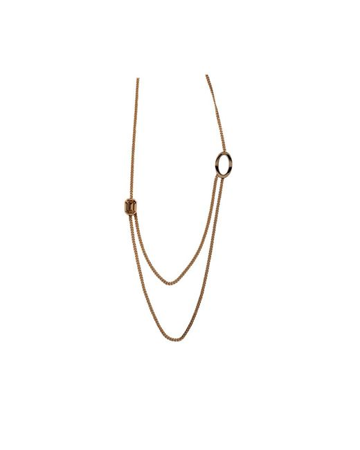 Rebecca - Metallic Elizabeth Long Circle Crystal Necklace - Lyst