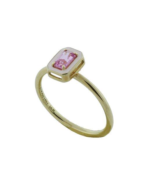 Alison Lou | Metallic Pink Sapphire And Enamel Ring | Lyst
