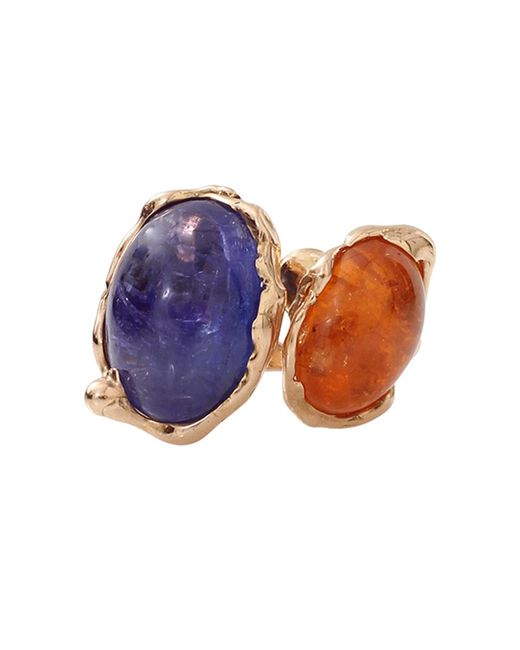 Lucifer Vir Honestus | Blue Tanzanite And Mandarin Garnet Contrarie Ring | Lyst