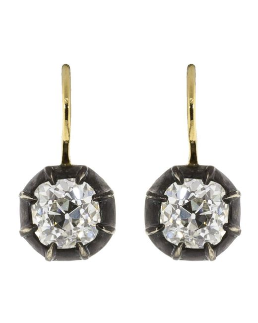 Fred Leighton - Multicolor Antique Cushion Diamond Collet Drop Earrings - Lyst