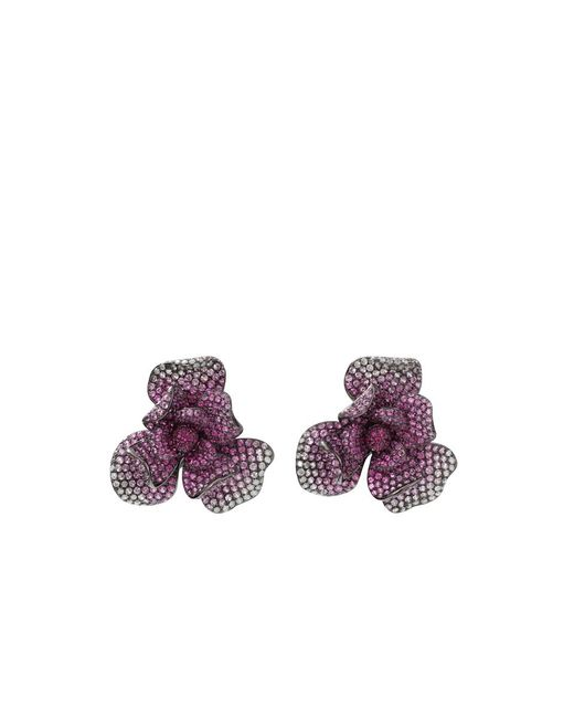 Wendy Yue | Metallic Pink Sapphire Flower Earrings | Lyst