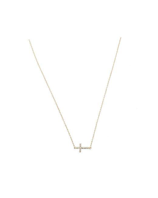 Sydney Evan | Metallic Small Diamond Cross Necklace | Lyst