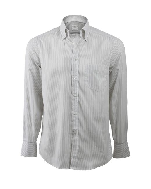 Brunello Cucinelli | Gray Stripe Spread Collar Shirt for Men | Lyst