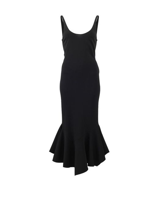 Givenchy | Black Ruffle Hem Midi Dress | Lyst