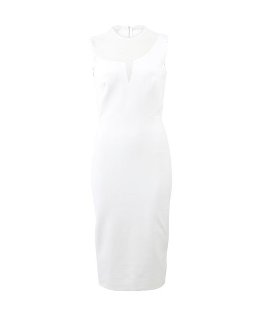 Victoria Beckham   White Sheer Panel Fitted Dress   Lyst