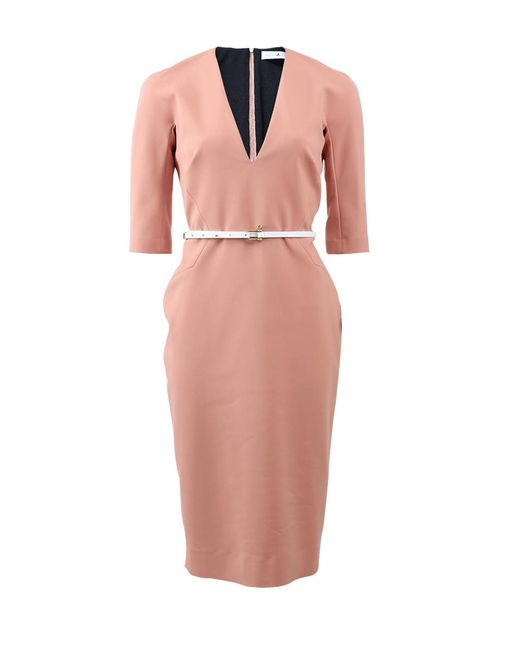 Victoria Beckham | Pink Three-quarter Sleeve Midi Dress | Lyst