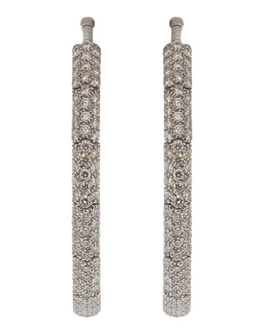 Mattia Cielo - White Rugiada Diamond Pave Hoop Earrings - Lyst