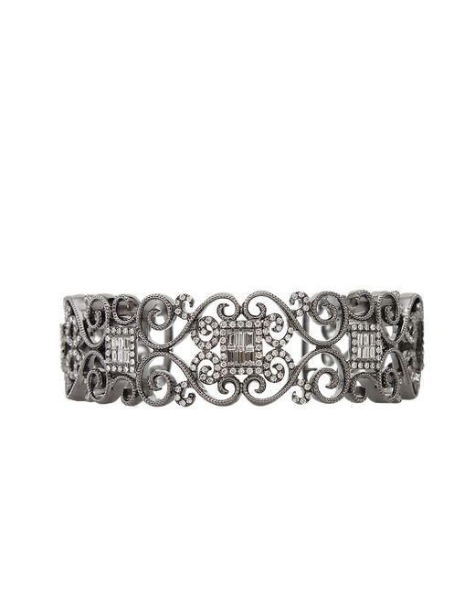Bochic - White Diamond Scroll Cuff Bracelet - Lyst