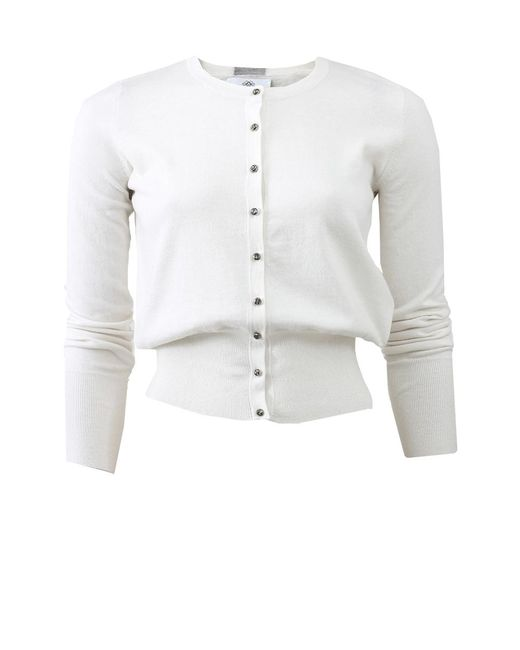 Allude - White Crystal Button Cardigan - Lyst