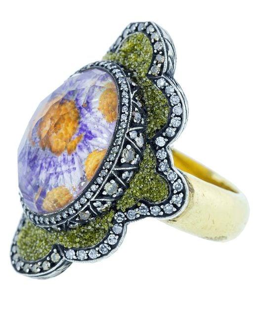 Sevan Biçakci - Multicolor Carved Flower Ring - Lyst