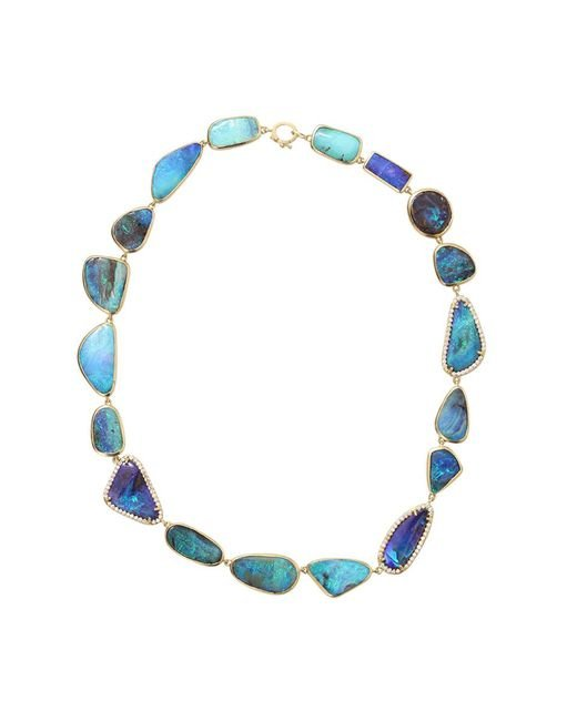 Irene Neuwirth - Blue Boulder Opal And Diamond Necklace - Lyst