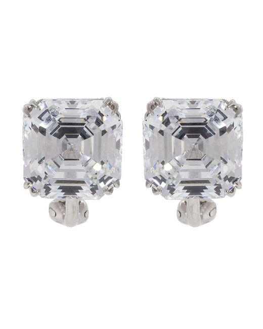 Fantasia Jewelry - Metallic Cubic Zirconia Square Stud Earrings - Lyst