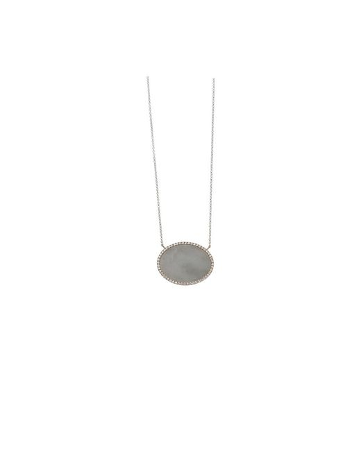 Monique Péan | Grey Guatemalan Jade And White Diamond Oval Necklace | Lyst