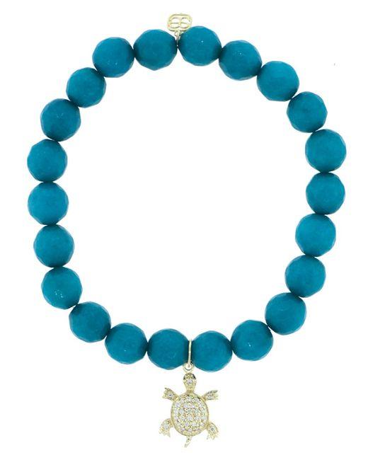 Sydney Evan - Blue Diamond Pave Turtle Charm Bracelet - Lyst