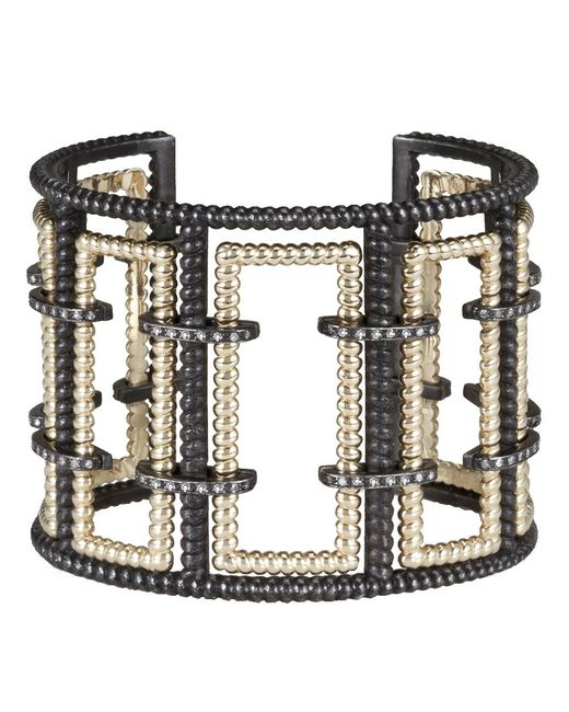 Nancy Newberg - Metallic Diamond Bracket Silver Frame Cuff - Lyst