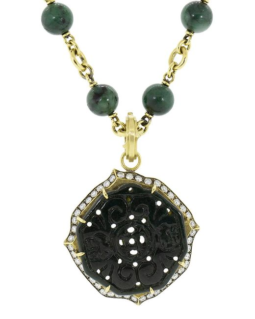 Sylva & Cie - Carved Black Jade Pendant - Lyst