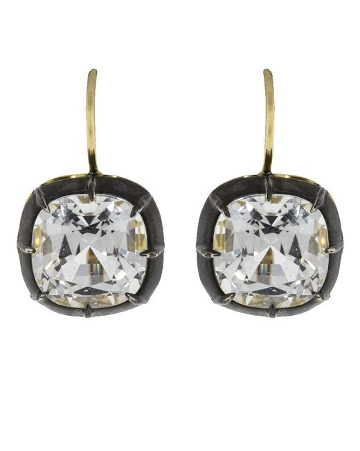 Fred Leighton - Multicolor Cushion White Topaz Drop Earrings - Lyst