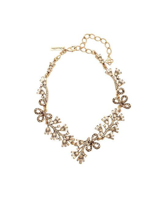 Oscar de la Renta - Metallic Floral Baguette Necklace - Lyst