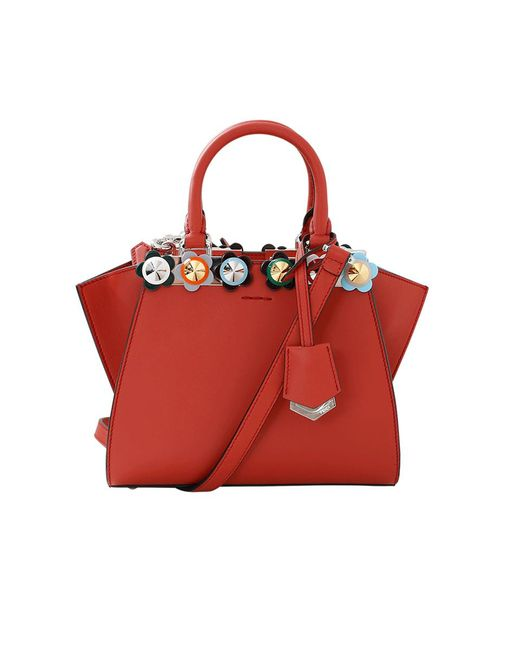 Fendi - Red 3jours Plexi Flower Mini Shopper Bag - Lyst