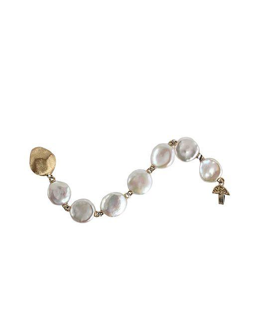 Yvel - Metallic White Keshi Fresh Water Pearl Bracelet - Lyst