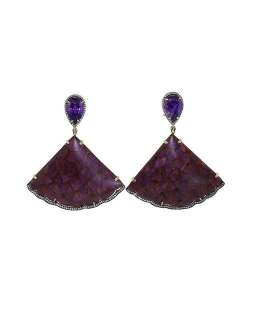 Silvia Furmanovich | Marquetry Purple Fan Earrings | Lyst