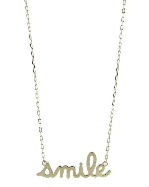 Sydney Evan | Metallic Smile Script Necklace | Lyst