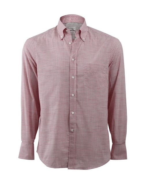 Brunello Cucinelli | Pink Check Spread Collar Shirt for Men | Lyst