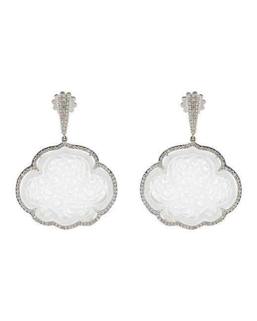 Inbar | Carved White Jade Cloud Earrings | Lyst