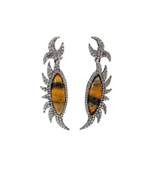 Colette - White Bumble Bee Diamond Earrings - Lyst