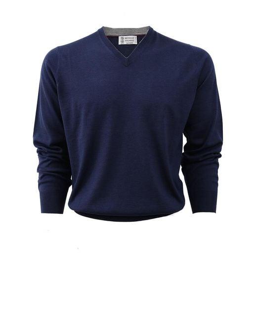 Brunello Cucinelli - Blue V-neck Fine Gauge Sweater for Men - Lyst